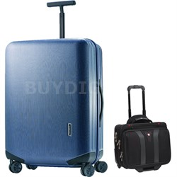 "Inova Luggage 20"" Hardside Spinner (Indigo Blue) Plus Wenger Laptop Boarding Bag"