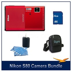 COOLPIX S80 Red Camera 4GB Bundle w/ Case and Cleaning Kit