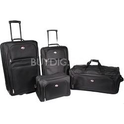 4 Piece Ultra Lightweight Luggage Set (BB/WDFL/UP21/25) - Black