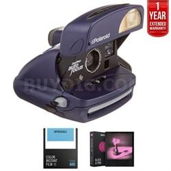 Polaroid 600 Round Camera Blue + 1 Year Extended Warranty Bundle
