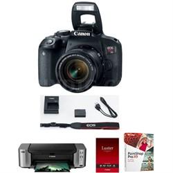 EOS Rebel T7i DSLR Camera with 18-55mm IS STM Lens + Pro 100 Printer Kit