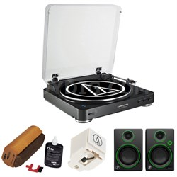 Fully Automatic Bluetooth Wireless Stereo Turntable - Black w/ Monitors Bundle