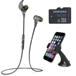 BlueBuds X Sport Bluetooth Headphones (Camo) Mount & Memory Bundle