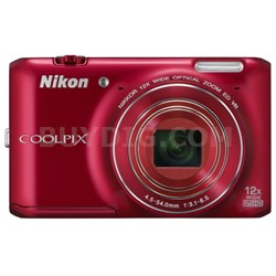 COOLPIX S6400 16MP Digital Camera with 12x Zoom (Red) Refurbished