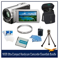 DCR-SX83 Ultra-Compact Camcorder w/ 16GB Flash Memory Essentials Bundle