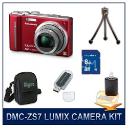 DMC-ZS7R LUMIX 12.1 MP Digital Camera (Red), 8GB SD Card, and Camera Case