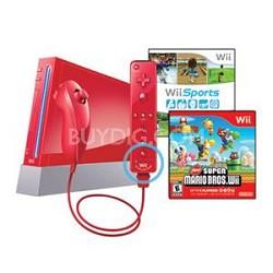 Wii System w/ Resort & Remote Plus - Red Bundle