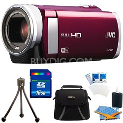 "GZ-EX210RUS HD Everio Camcorder f1.8 40x Zoom 3"" Touchscreen WiFi (Red) 16GB Kit"