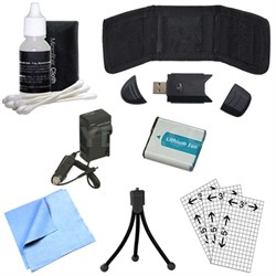 Battery, Charger, Memory Card Reader, Mini Tripod, Cleaning Kit and More