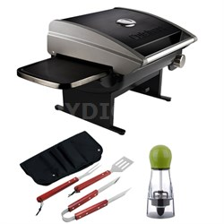 Portable Outdoor Tabletop Propane Gas Grill Black with BBQ Bundle