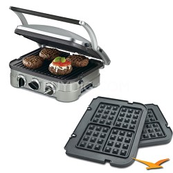 5-in-1 Grill Griddler Panini Maker Bundle with Bonus Waffle Attachment (GR-4N)