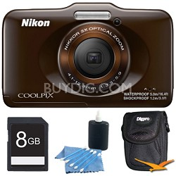COOLPIX S31 10.1MP 720p HD Video Waterproof Digital Camera - Brown Plus 8GB Kit