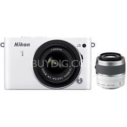 1 J3 14.2MP White Digital Camera with 10-30mm VR and 30-110mm VR Lenses