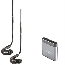 SE215 Sound Isolating Earphones w/ Dynamic MicroDriver, FiiO A1 Amp Bundle
