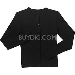 Ladies Fine-Gauge Flat-Knit Crewneck Cardigan Sweater Black (Medium)
