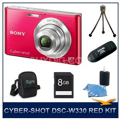 Cyber-shot DSC-W330 14MP Red Digital Camera With 8GB Card, Case, and More