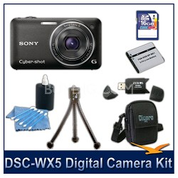 Cyber-shot DSC-WX5 Digital Camera (Black) 16GB Card, Case, and more