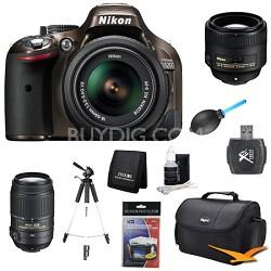 D5200 Bronze Digital SLR Camera with 18-55mm, 55-300mm, 85mm Lens Kit