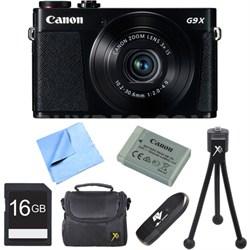 PowerShot G9 X Digital Camera with 3x Optical Zoom 16GB Bundle - Black