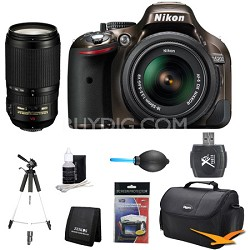 D5200 DX-Format Bronze Digital SLR Camera with 18-55mm and 70-300mm Lens Kit