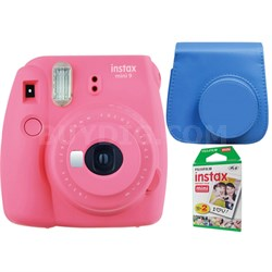 Instax Mini 9 Instant Camera - Flamingo Pink w/ Case + 2-Pack Instant Film