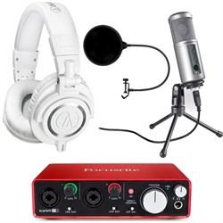ATH-M50X Pro Studio Headphones (White) w/ USB Audio Interface Deluxe Bundle