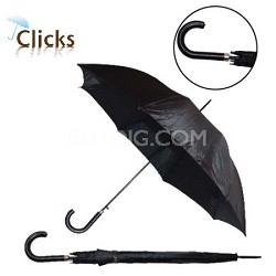 "46"" Automatic Open Stick Umbrella with Stitch Hook Handle Black"