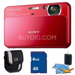 Cyber-shot DSC-T110 Red Touchscreen Digital Camera 4GB Bundle
