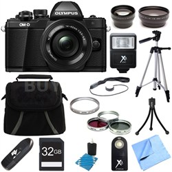 OM-D E-M10 Mark II Mirrorless Digital Camera w/ 14-42mm EZ Lens (Black) Bundle