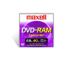 "DVD-RAM 3"" Round Cartridge f/ Panasonic / Hitachi Camcorders - 60 Minutes/2.8 GB"