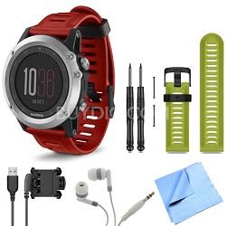 fenix 3 Multisport Training Silver GPS Watch Green Band Bundle