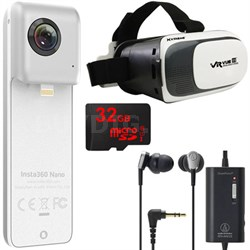 Nano VR Camera iPhone 6 + 7 w/ VR Viewer, 32GB MicroSD, QuickPoint Headphones