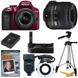 D3300 DSLR HD Red Digital Camera Macro Photographer Bundle