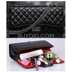 Luxury Quilted Chain Handle Handbag - Black