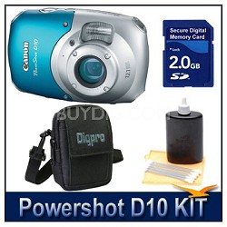 Powershot D10 Kit w/ 2GB SD Card, Case & More