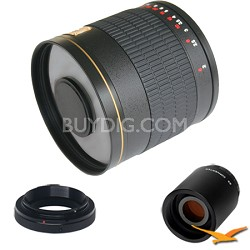 800mm F8.0 Mirror Lens for Samsung NX with 2x Multiplier (Black) - 800M-B