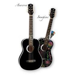 AUR MPD1 BLS Aurora Imagine Mini Acoustic Guitar, Black (Right Handed)