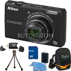 COOLPIX S6200 Black 10x Zoom 16MP Camera 8GB Bundle