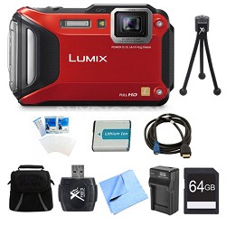 LUMIX DMC-TS6 WiFi Tough Red Digital Camera 64GB Bundle