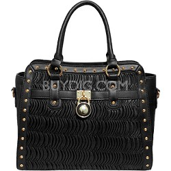 Boss Lady Bag with Crinkle Design on the Front (Black)