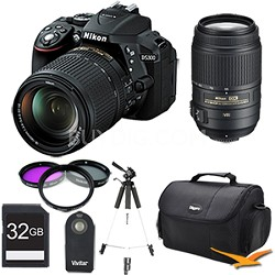 D5300 DX-Format 24.2MP DSLR Camera 18-140mm and 55-300mm Pro Lens Bundle (Black)