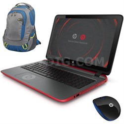 """15-p030nr 15.6"""" AMD Quad-Core Special Edition Beats Laptop w/ Backpack & Mouse"""