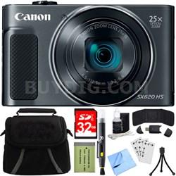 PowerShot SX620 HS 20.2MP Digital Camera Black w/ 32GB Card Accessory Bundle