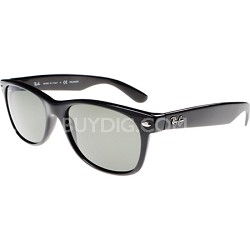 New Wayfarer Black Sunglasses, Black Frame, Green Lens 55mm