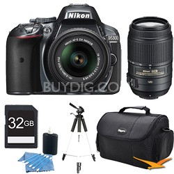 D5300 DX-Format Digital SLR Kit (Grey) w/ 18-55mm DX & 55-300mm VR Lens Bundle