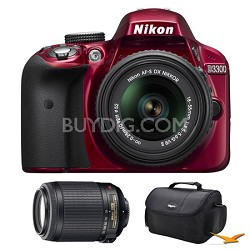 D3300 DSLR HD Red Camera, 18-55mm Lens, 55-200mm Lens and Case Bundle