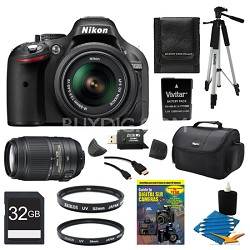 D5200 DX-Format Black Digital 32GB SLR Camera 18-55mm And 55-300VR Lens Bundle