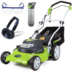 """12 Amp 20"""" Corded Lawn Mower w/ HP23 Headphones, 24oz Bottle & Safety Glasses"""