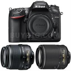 D7200 DX 24.2MP DSLR Camera w/ 18-55mm Zoom + 55-200mm Lens Refurbished Bundle
