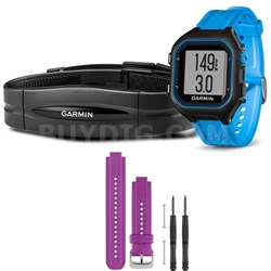 Forerunner 25 GPS Fitness Watch w/ Heart Rate Monitor Large Blue - Purple Bundle